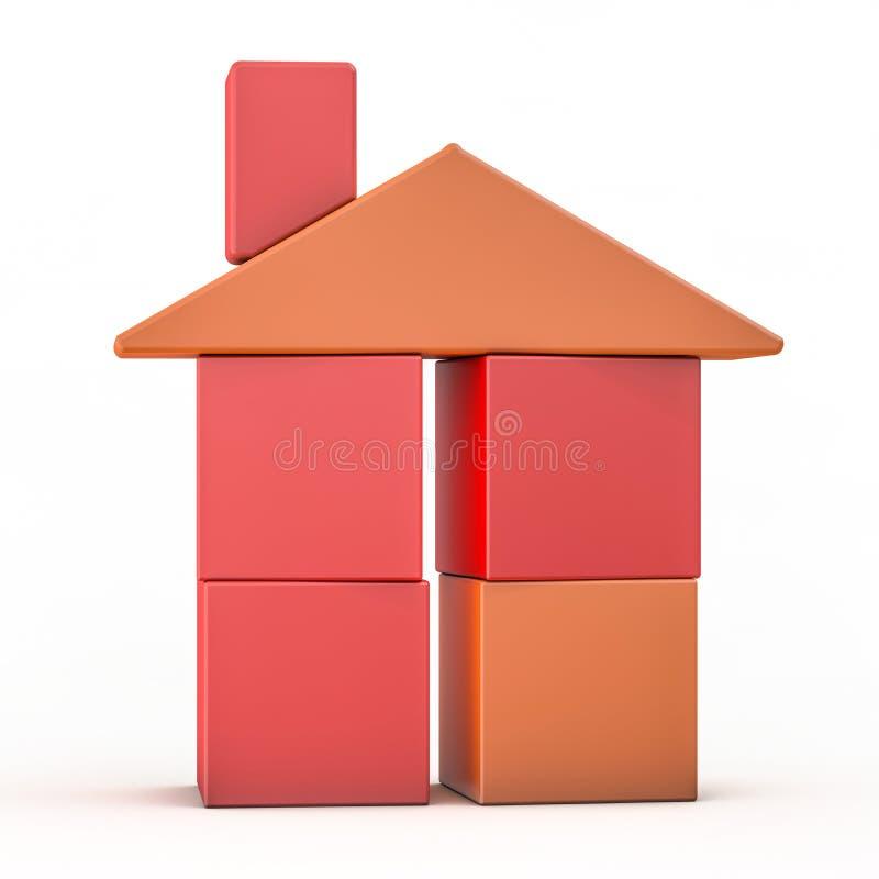 Plast- husmodell för leksak på vit 3d royaltyfri illustrationer