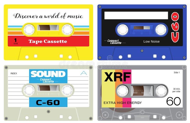 Plast- kassettband stock illustrationer