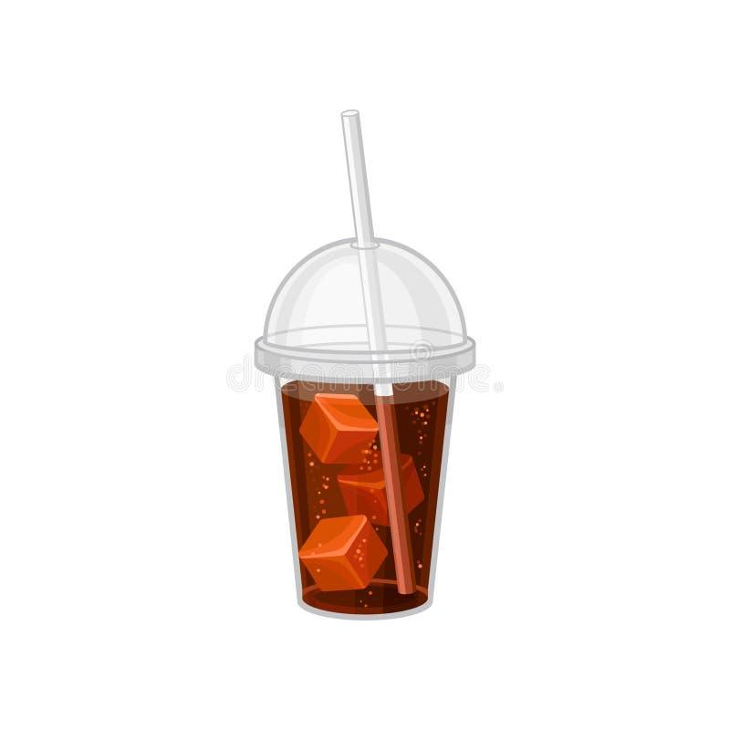 Plast- kopp av sodavatten med iskuber Söt dryck med att dricka sugrör och locket Plan vektordesign för promoaffisch eller stock illustrationer
