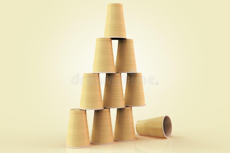 Plast-koppar som staplas i en pyramid med en som är stupad föreställa ner begreppet av fel på teamwork royaltyfri illustrationer