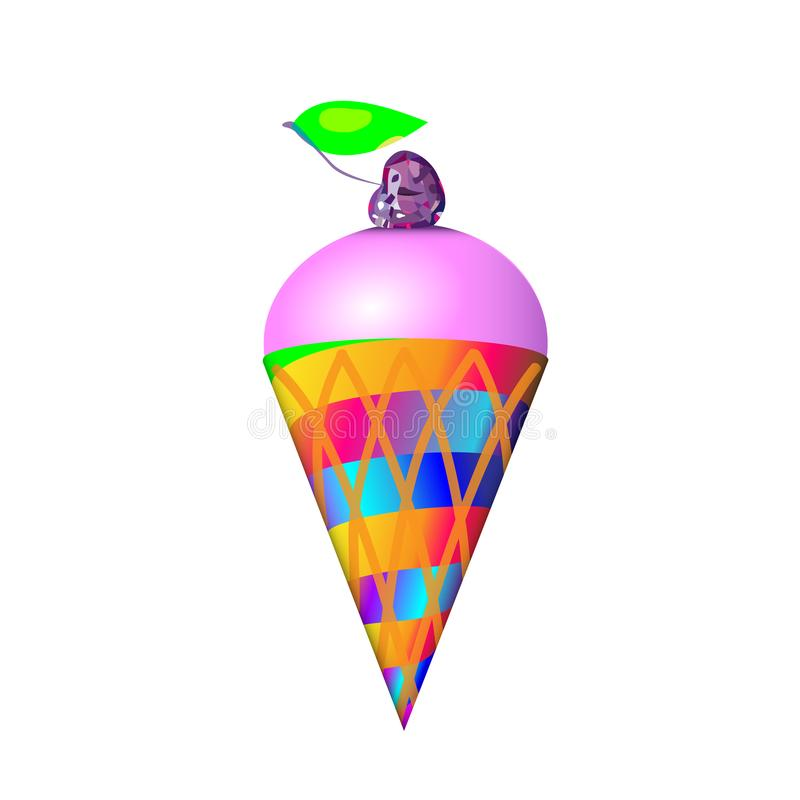 Plast- leksakglass för lutning i ljus tecknad filmstil med körsbäret Isolerad vektor i trevliga färger royaltyfri illustrationer
