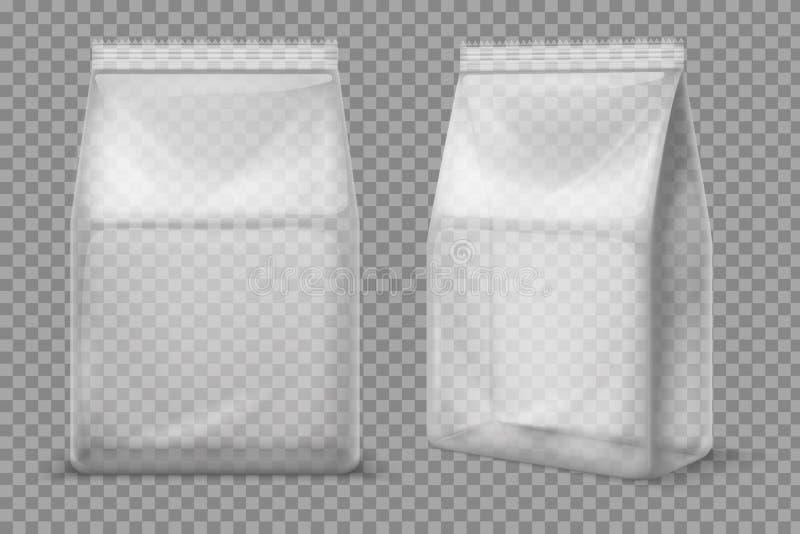 Plast- mellanmålpåse Genomskinlig matmellanrumspåse isolerad modell för vektor 3d packe royaltyfri illustrationer