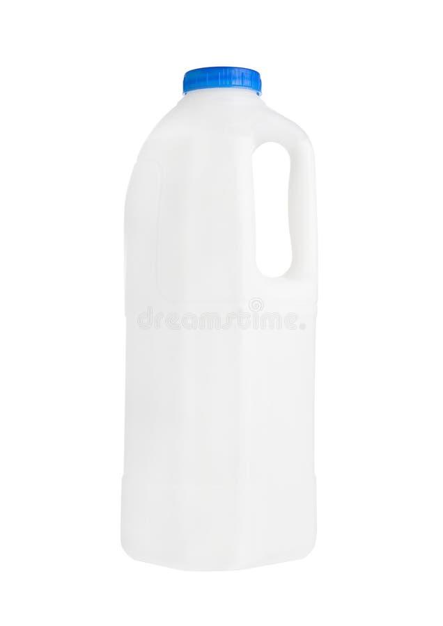 Plast- mjölkar gal.behållaren som isoleras på vit royaltyfri foto