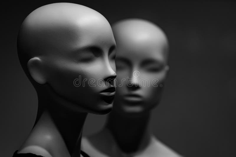 Plast- och konstgjord modell, skyltdocka mode och skönhet, shopping, ingen makeup, affär, ai, robotic teknologi arkivbild