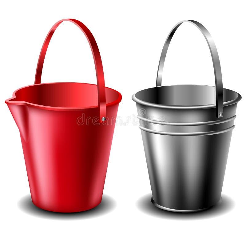Plast-- och metallhinkuppsättning stock illustrationer
