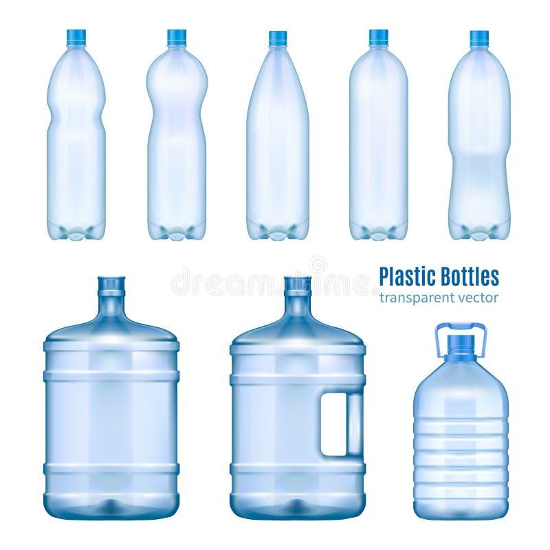 Plast- realistisk uppsättning för vattenflaskor vektor illustrationer