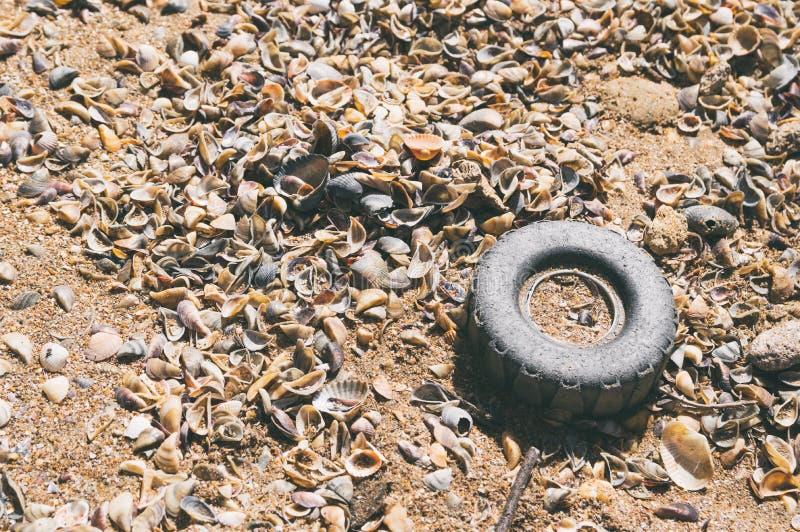 Plast- rulla in sanden royaltyfri foto