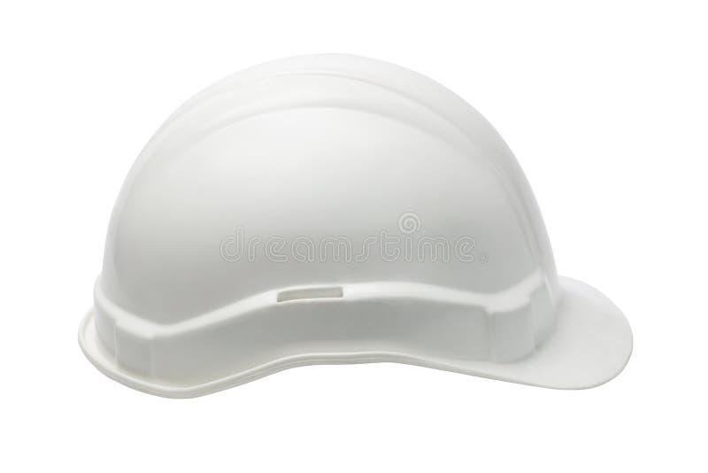 Plast- säkerhetshjälm för vit arkivfoto