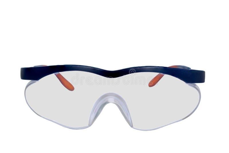 Plast- säkerhetsskyddsglasögon som isoleras på vit bakgrund royaltyfri bild