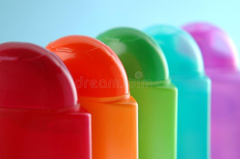 plast-shampoo för 02 flaskor arkivfoto