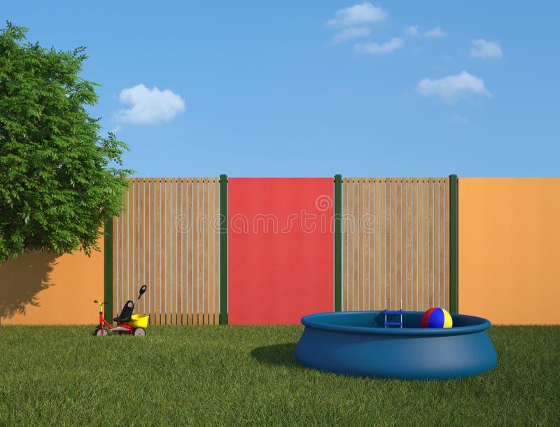 Plast- simbassäng i trädgården royaltyfri illustrationer