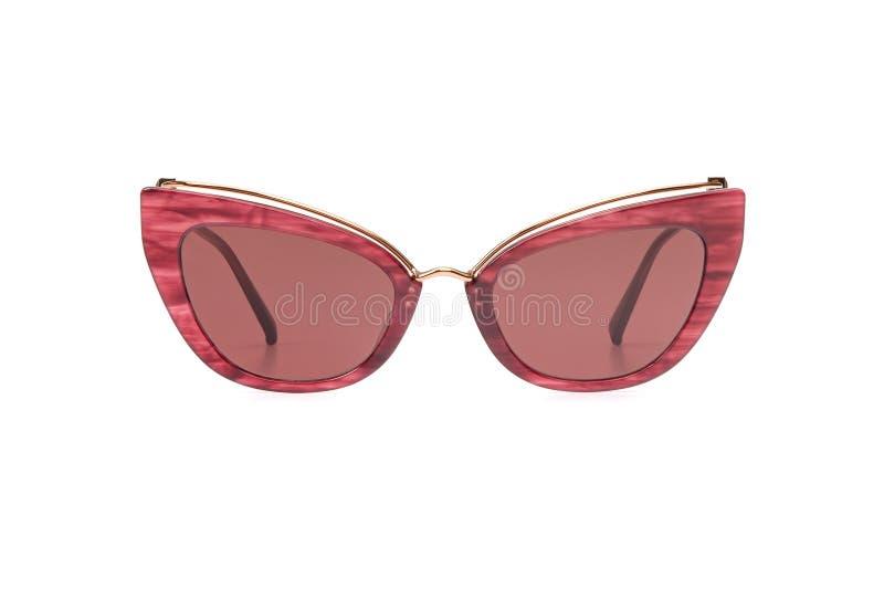 Plast- tappning för kvinnlig solglasögonkorall som isoleras på vit bakgrund Sommarkvinnors modell för bästa sikt för exponeringsg arkivfoto