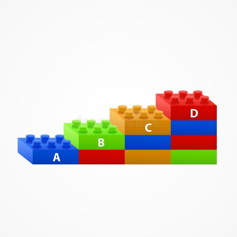 Plast- trappa för byggnadskvarter vektor illustrationer