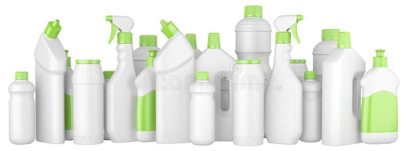 Plast- tvättmedelflaskor med gröna lock i rad royaltyfri illustrationer