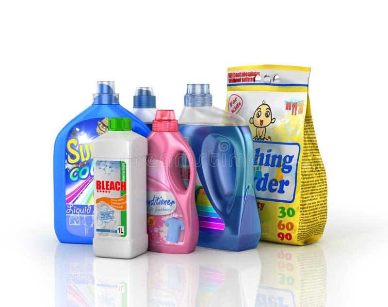 Plast- tvättmedelflaskor och tvagningpulver vektor illustrationer