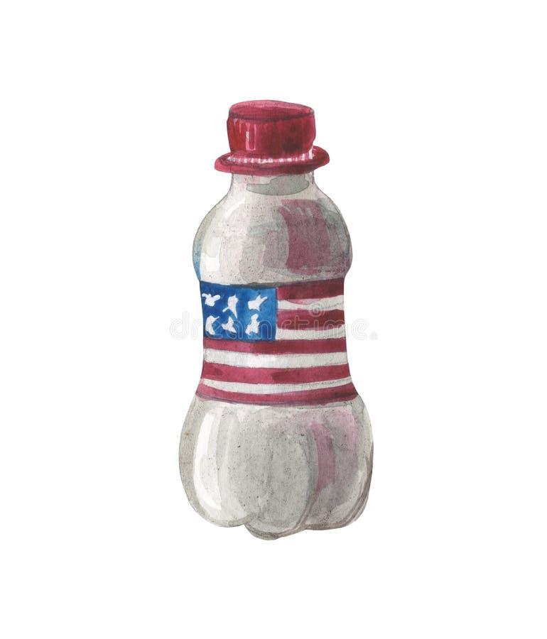 Plast- vattenflaska för vattenfärg med flaggan av USA stock illustrationer