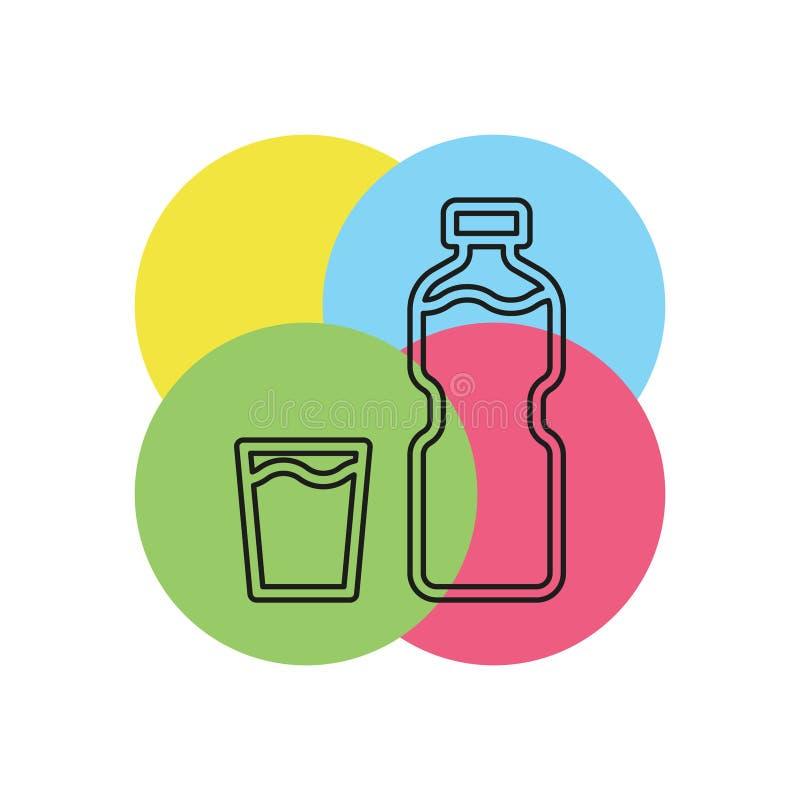 Plast- vattenflaska för vektor, drinkbehållare stock illustrationer