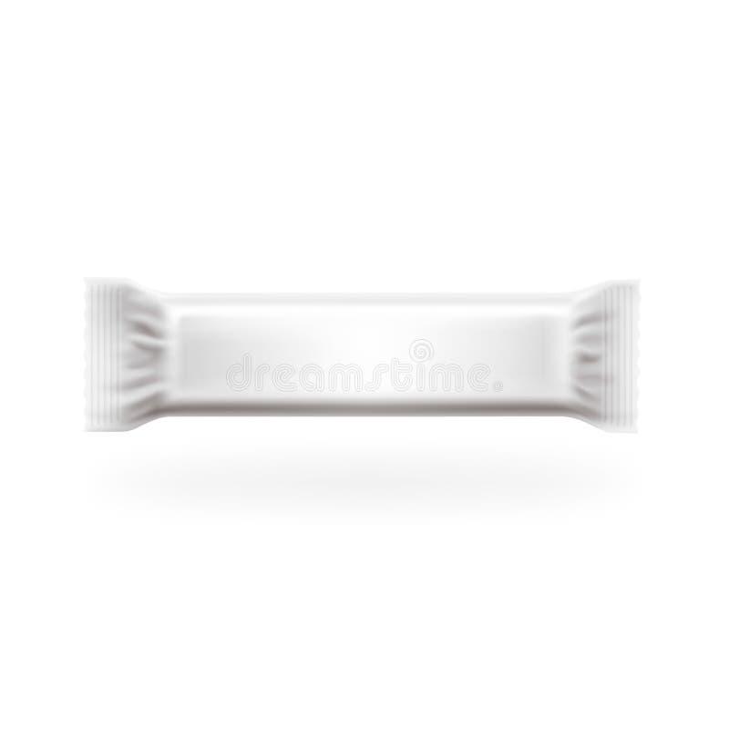 Plast- vektor för packestångräkning Choklad, rån, sötsaker och godisen packar Lätt redigerbart i lager, specificerad höjdpunkt stock illustrationer