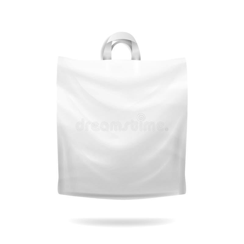 Plast- vektor för shoppingpåse Vit tom realistisk åtlöje upp Goda för packedesign royaltyfri illustrationer