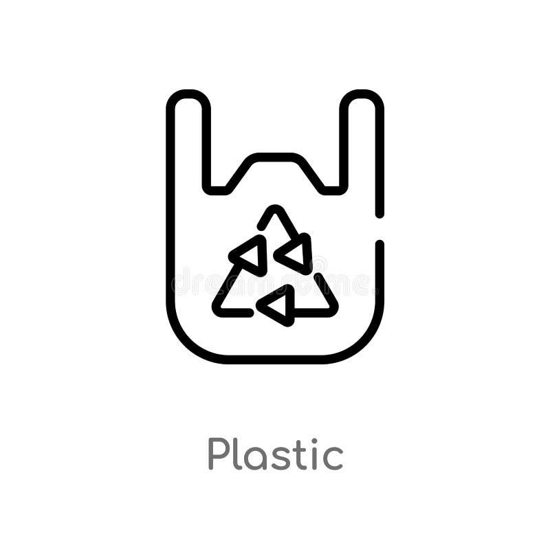 plast- vektorsymbol för översikt isolerad svart enkel linje beståndsdelillustration från ekologibegrepp redigerbar vektorslagläng royaltyfri illustrationer