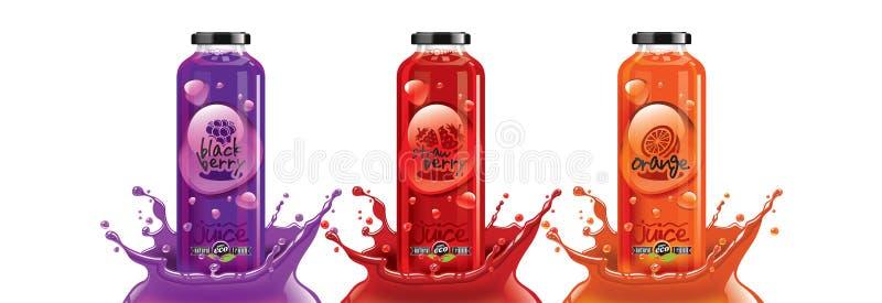Plastburk för frukt- och bärsaft, svartbär, jordgubbar, orange dekal design arkivfoton