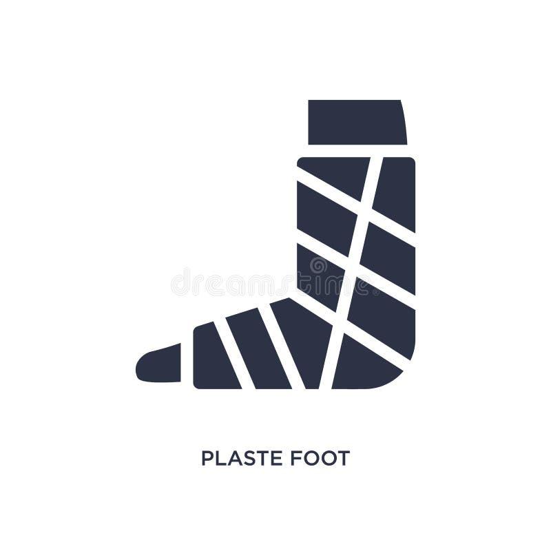 plaste Fußikone auf weißem Hintergrund Einfache Elementillustration vom medizinischen Konzept lizenzfreie abbildung