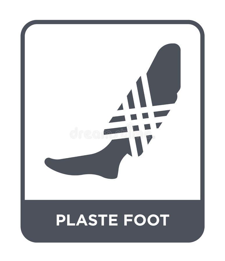 plaste voetpictogram in in ontwerpstijl plaste voetpictogram op witte achtergrond wordt geïsoleerd die plaste eenvoudig en modern stock illustratie