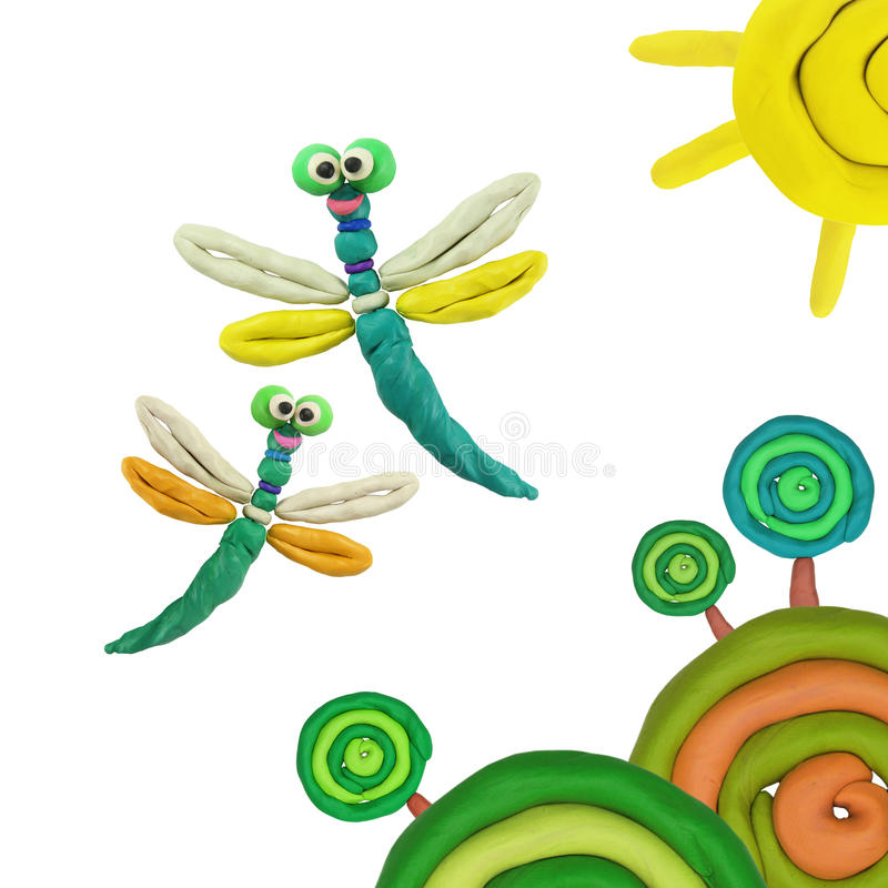 Plastelin dragonflies obraz royalty free