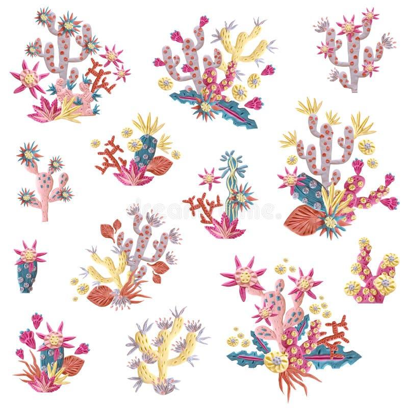 Plastelina sukulent z kwiatami ilustracyjnymi Bukiety i arr ilustracja wektor