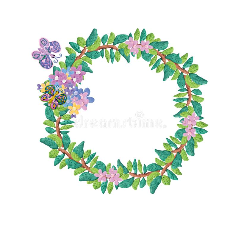Plasteliny 3D kwiecista rama odizolowywająca na bielu ilustracja wektor