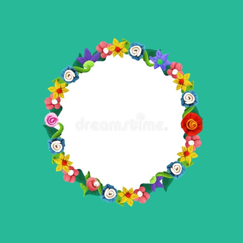 Plasteliny kolorowa kwiecista rama z różami i kwiatami royalty ilustracja