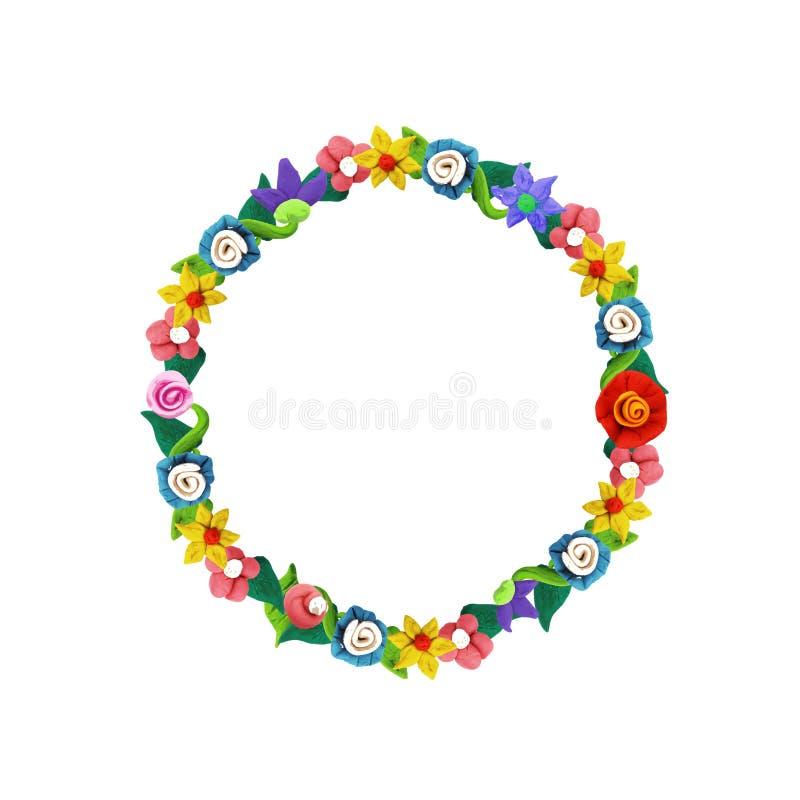 Plasteliny kolorowa kwiecista rama z różami i kwiatami ilustracji