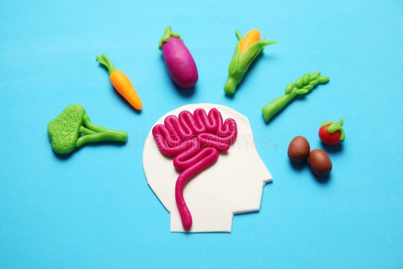 Plastellinadiagram av mannen och vegetarisk mat Mat f?r meningen, laddning av energi Sund livsstil, detoxification och antioxidan royaltyfria foton