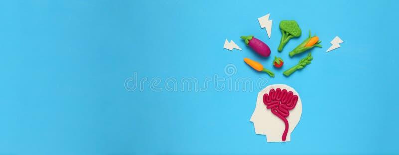 Plastellinadiagram av mannen och vegetarisk mat Mat f?r meningen, laddning av energi Sund livsstil, detoxification och antioxidan royaltyfri fotografi