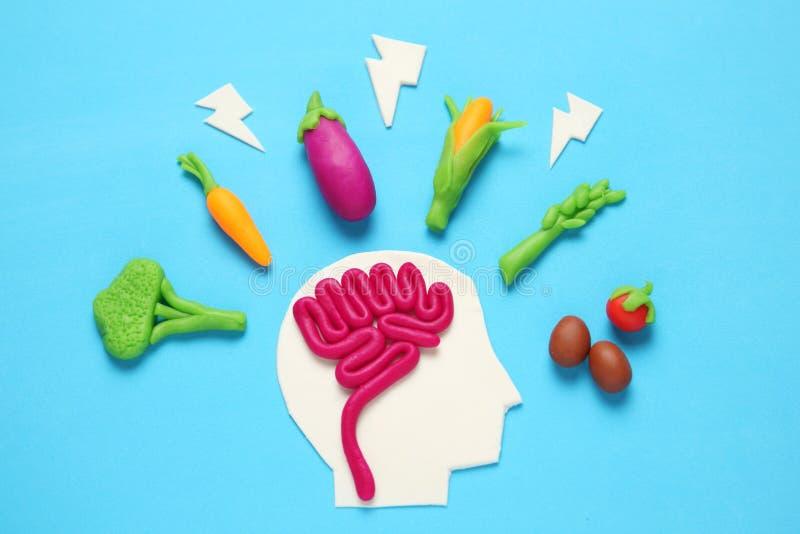 Plastellinadiagram av mannen och vegetarisk mat Mat f?r meningen, laddning av energi Sund livsstil, detoxification och antioxidan royaltyfri bild