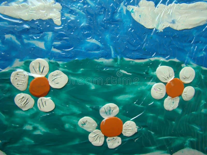 Plastellinalandskap med blommor royaltyfria foton