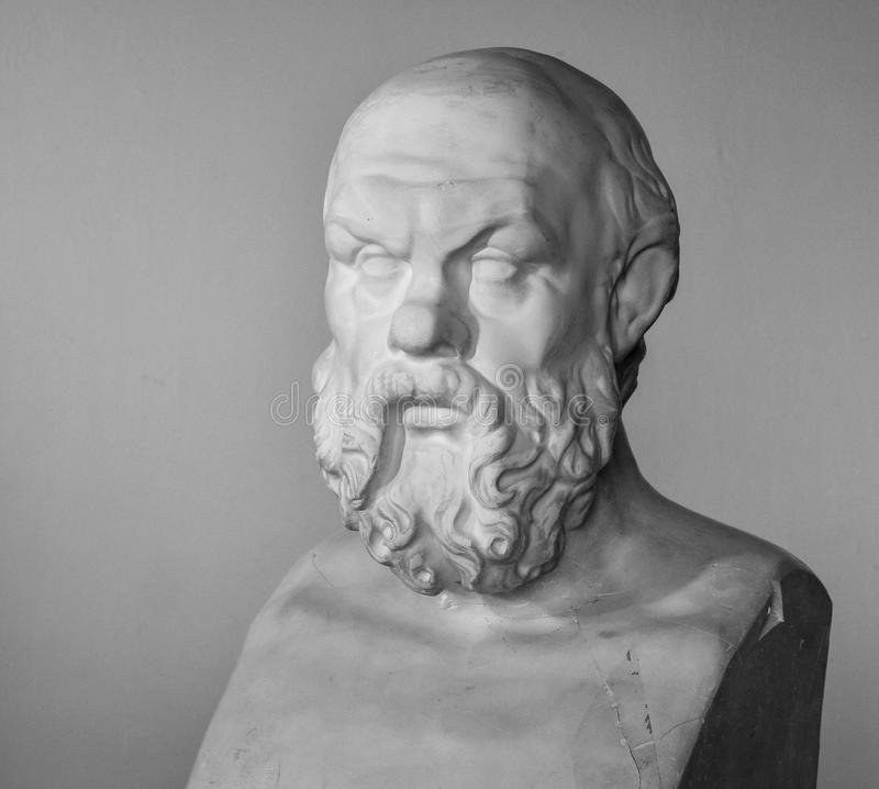 Plaster bust of Socrates. In high quality royalty free stock photography