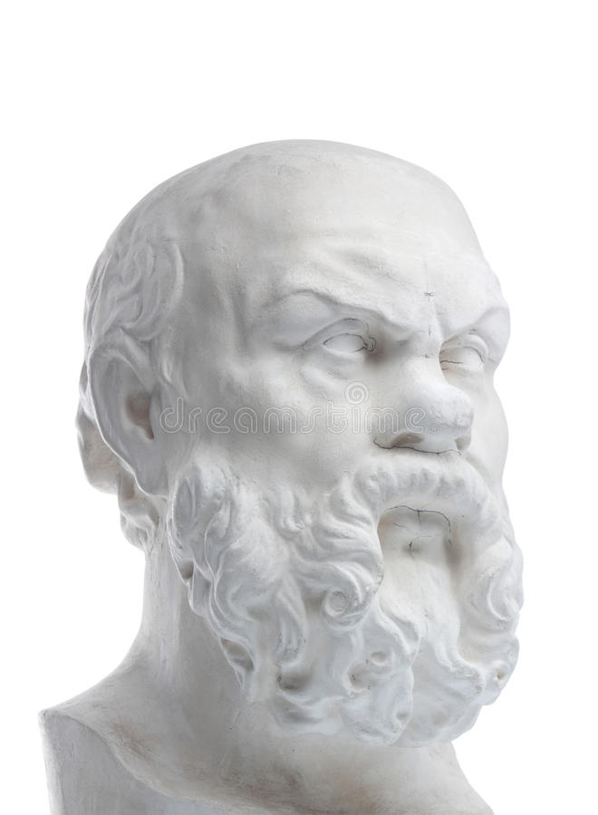 Plaster bust of sokrat. Isolated on a white background stock image