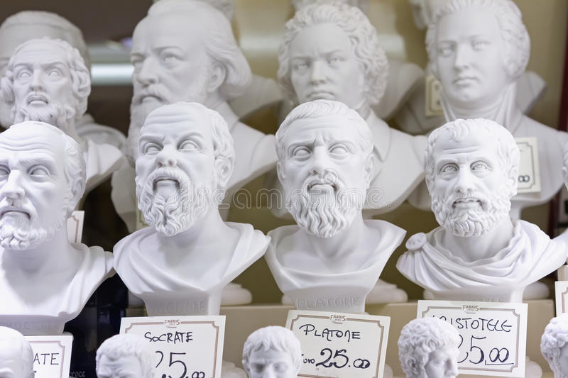 Plaster busts of philosophers. For sale stock image