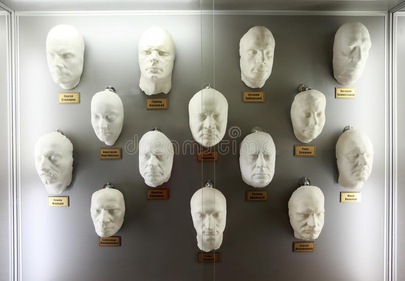 Plaster casts of faces popular Russian actors stock photos
