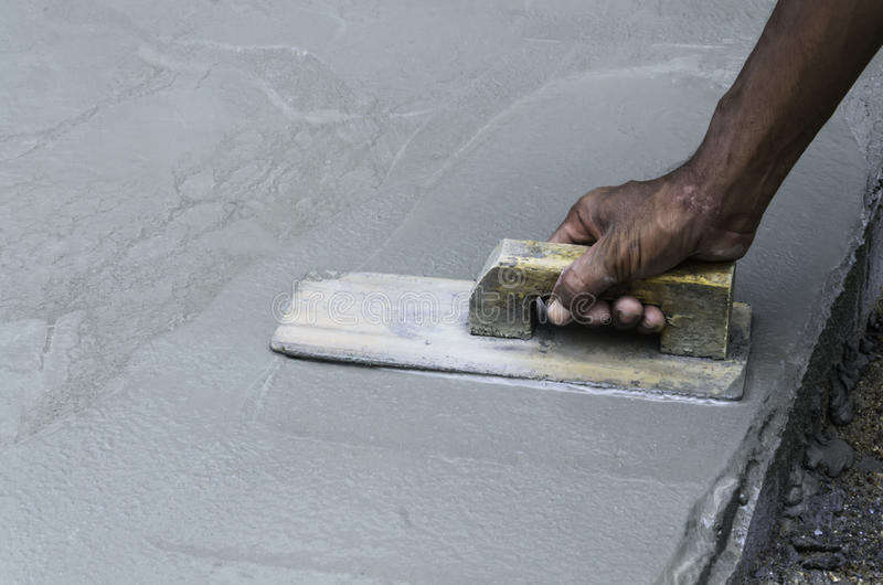 Plaster on the concrete stock images