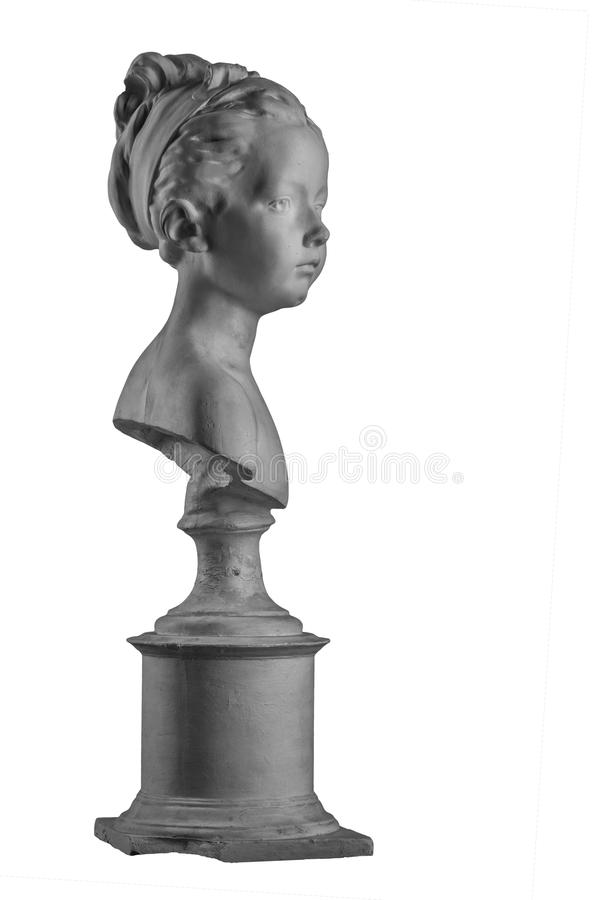 Plaster figure of a bust of the girl portrait of Louise. On the background royalty free stock photos