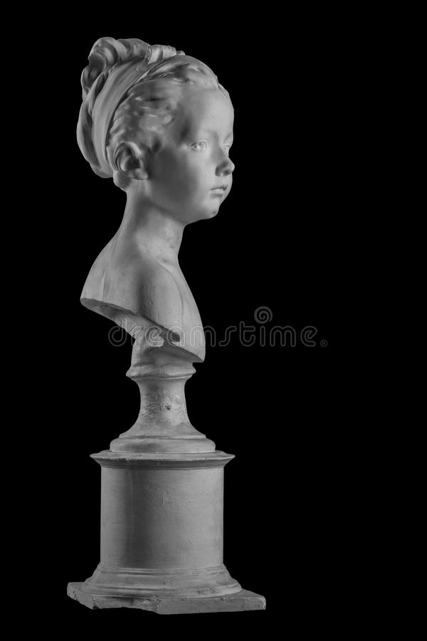 Plaster figure of a bust of the girl portrait of Louise. On the background stock photo