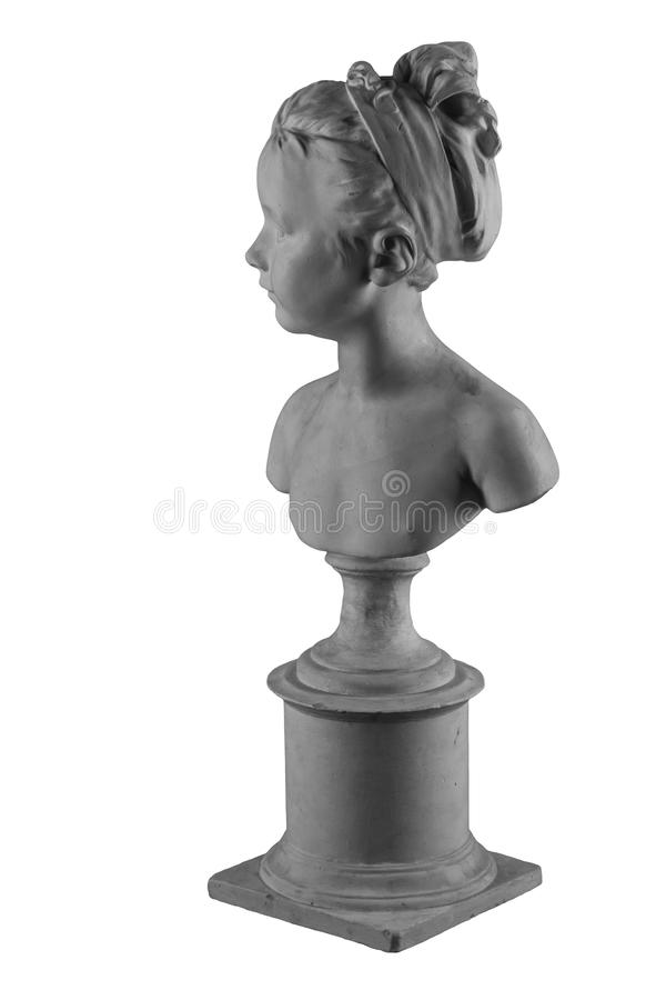 Plaster figure of a bust of the girl portrait of Louise. On the background stock images