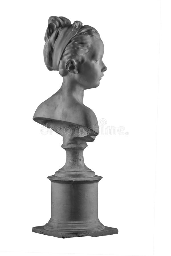 Plaster figure of a bust of the girl portrait of Louise. On the background royalty free stock images