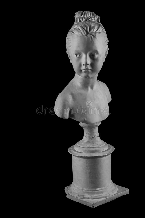 Plaster figure of a bust of the girl portrait of Louise. On the background stock photography