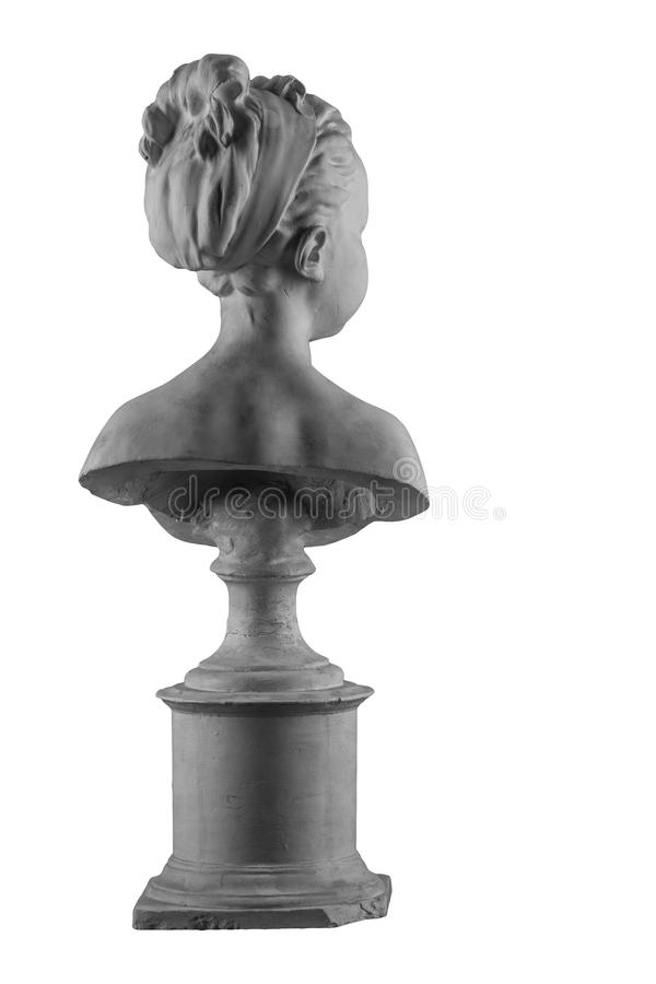 Plaster figure of a bust of the girl portrait of Louise. On the background royalty free stock photo