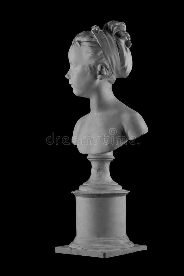 Plaster figure of a bust of the girl portrait of Louise. On the background stock image