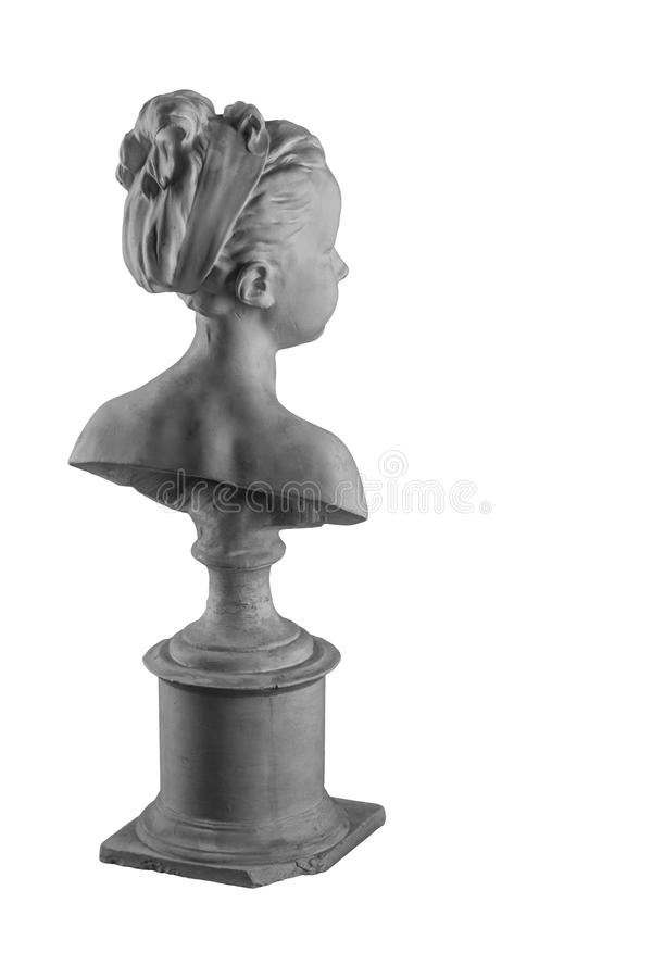 Plaster figure of a bust of the girl portrait of Louise. On the background royalty free stock photography