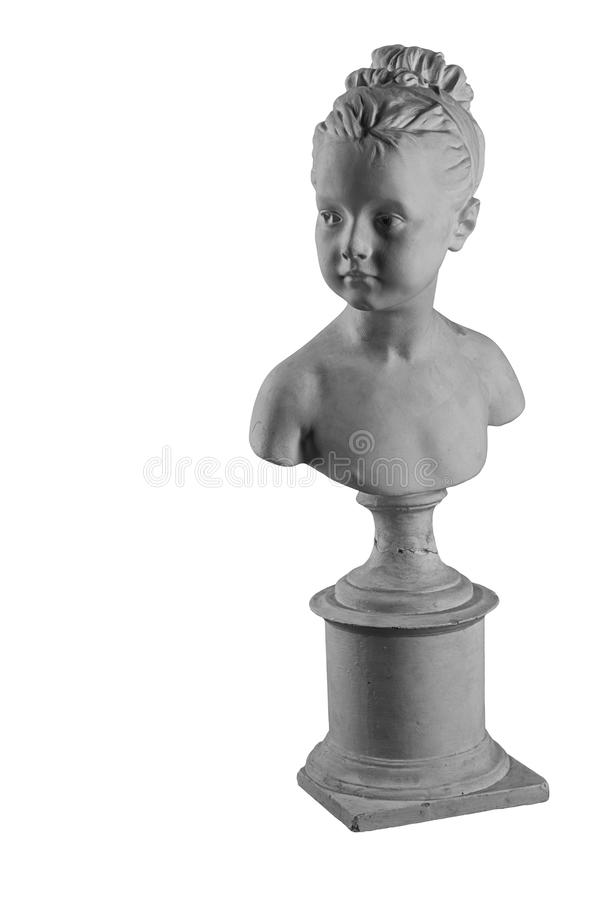 Plaster figure of a bust of the girl portrait of Louise. White plaster bust, gypsum sculpture portrait figure of a bust of the girl portrait of Louise royalty free stock image